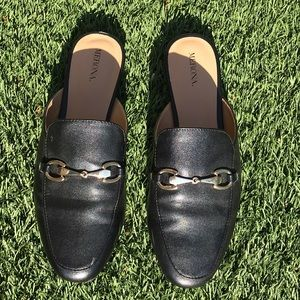 Merona black slides with gold buckle